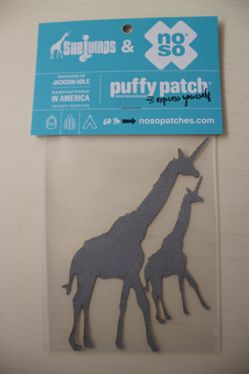 Rip in the puffy jacket?  Tear in the tent? Just want to put a Girafficorn on it?  This is the product.  Support the non-profit  SHEJUMPS  by purchasing this product collab with NOSO.   FIND IT HERE