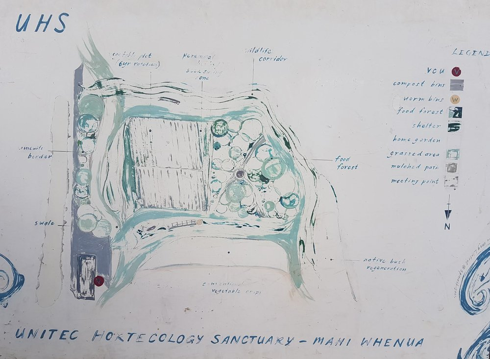 above:   Meg Liptrot's   2001   painted vision of the complementary components of the Sanctuary Mahi Whenua.
