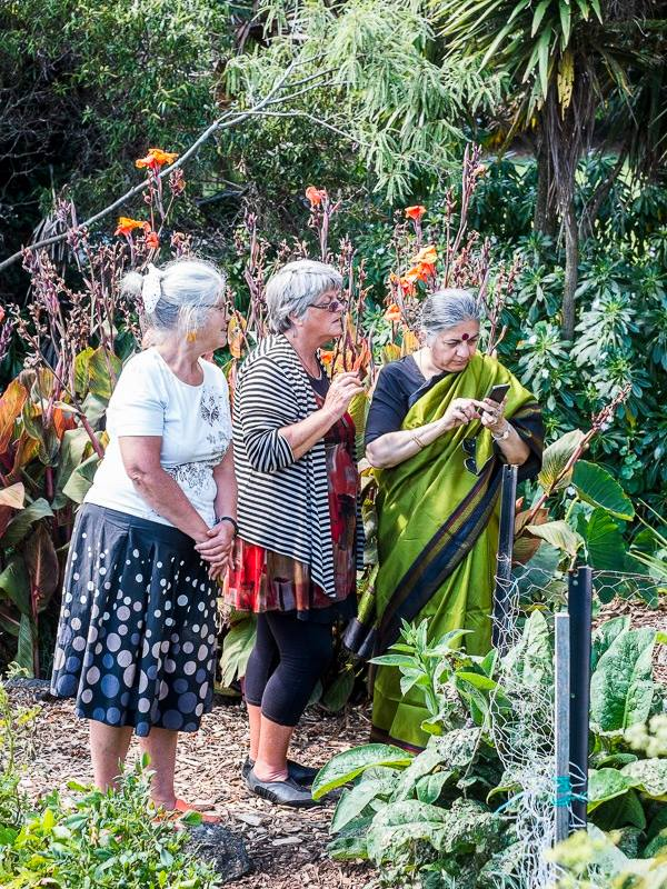 Dr Vandana Shiva , visiting the Sanctuary Mahi Whenua following the February 2015  Food Matters Aotearoa Conference.