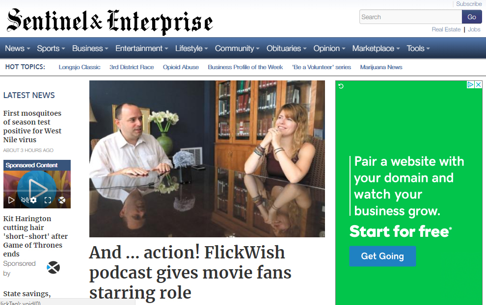 FlickWish Rising Sentinel & Enterprise Story