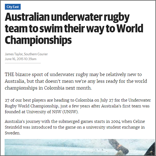 Australian underwater rugby team to swim their way to World Championships  NewsLocal Southern Courier, 16 June 2015