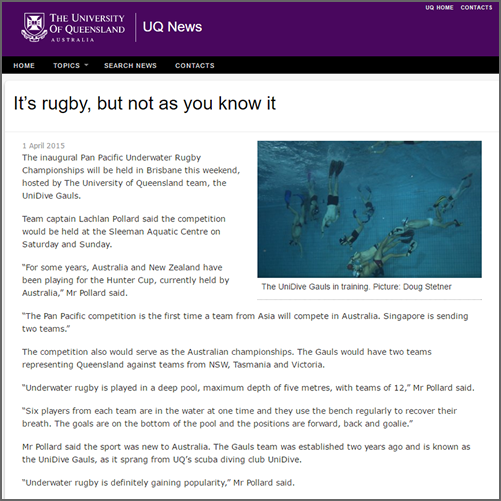 It's rugby, but not as you know it  UQ News, 01 April 2015