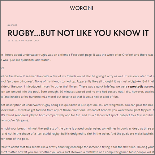 Rugby... But not like you know it  Woroni (ANU), 15 March 2014