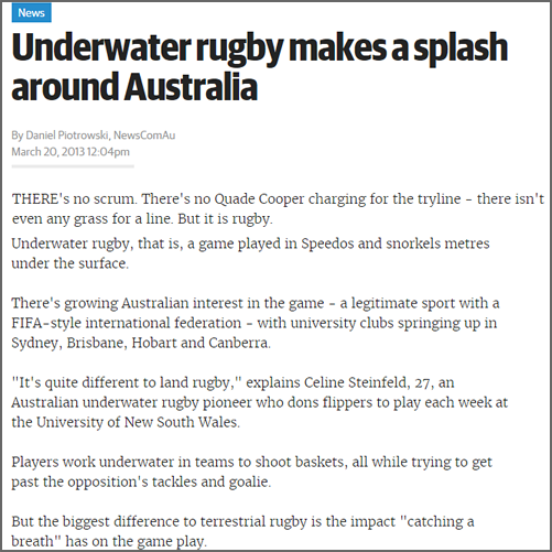 Underwater rugby makes a splash around Australia News.com.au, 20 March 2013