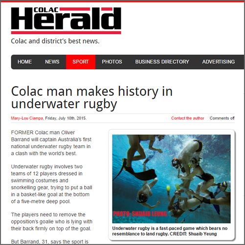 Colac man makes history in underwater rugby  Colac Herald, 10 July 2015