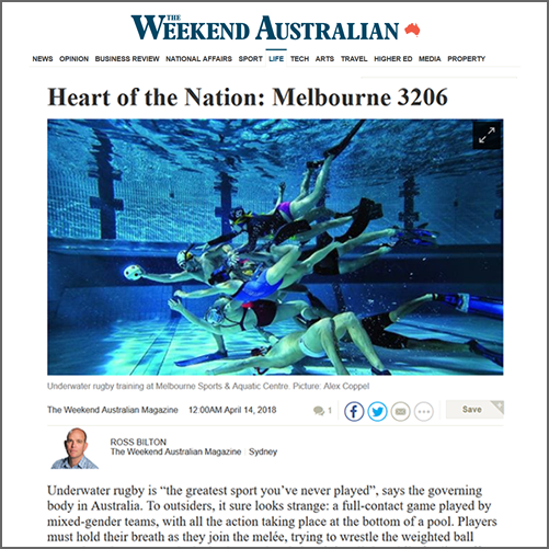 Heart of the Nation: Melbourne 3206 - '  When freediving meets biffo'  The Weekend Australian Magazine, 14 April 2018  (paywall link)