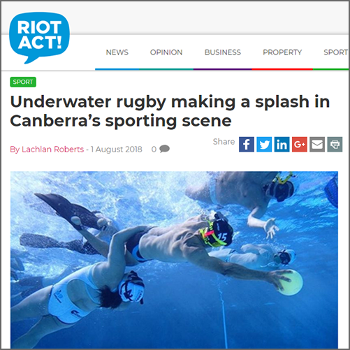 Underwater rugby making a splash in Canberra's sporting scene  The RiotACT, 01 August 2018