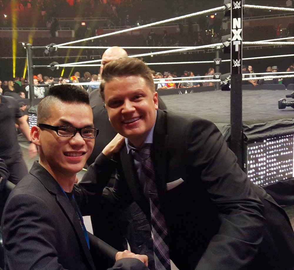 Liong and Greg Hamilton, one of NXT's ring announcers