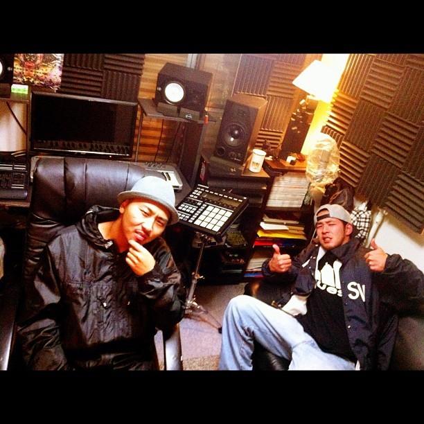田我流 & Young G@XLII汚れHQ! #tokyo #japan #studio #hiphop #dengaryu #youngG #yamanashi #machida #bassboat  (Taken with  Instagram )