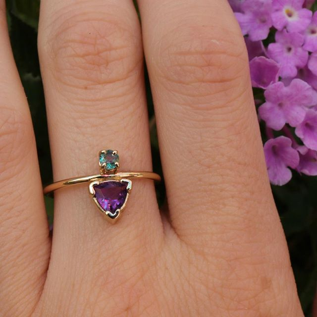 Excited to share the latest addition to my #etsy shop: Trillion Cut Amethyst and Alexandrite Ring, 14k Gold Engagement Ring, February Birthstone, June Birthstone #jewelry #ring #purple #gold #women #amethyst #trillion https://etsy.me/2VECMkN. . . . . . . . . #engagementring #engaged #14k #bridal #modernbride #alternativeengagementring #alternativebride #jewelryaddict #customengagementring #smallbusiness #modernjewelry #dreamring #ringsofinstagram #love #