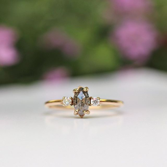 Excited to share the latest addition to my #etsy shop: Marquise Salt and Pepper Diamond Ring, Three Stone Unique Engagement, 14k Yellow Gold Handmade Wedding Ring, Conflict Free #jewelry #ring #gray #gold #women #diamond #marquise https://etsy.me/2PkstA2 #etsyseller #engagementring
