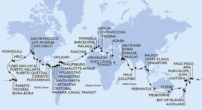 MSC cruises World cruise rutt för januari 2019 - mer om detta längre fram!
