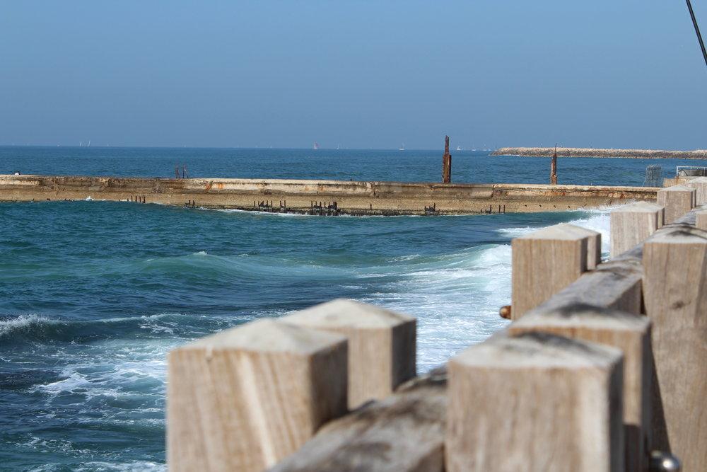 Old port i Tel Aviv - populärt tillhåll under sabbaten. Höga vågor, väldigt blåsigt. Men fint.