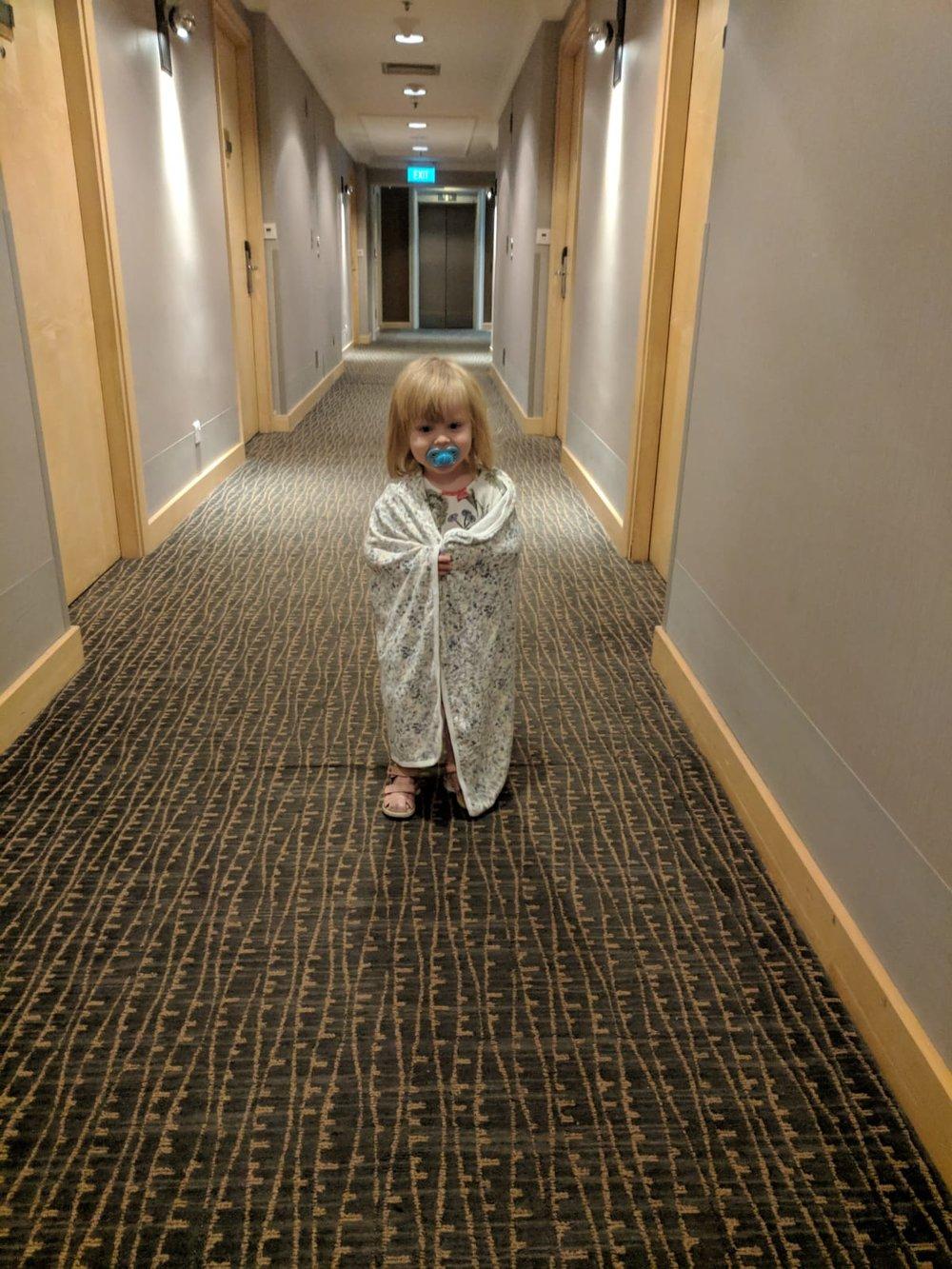 Lite för bra AC i lobbyn och korridoren vissa mornar - filt på!