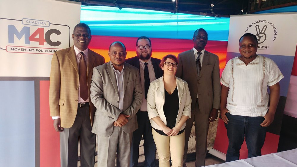 Director of Strategy, Nick O'Connor (third from left), meeting with Tanzania's Chadema Party