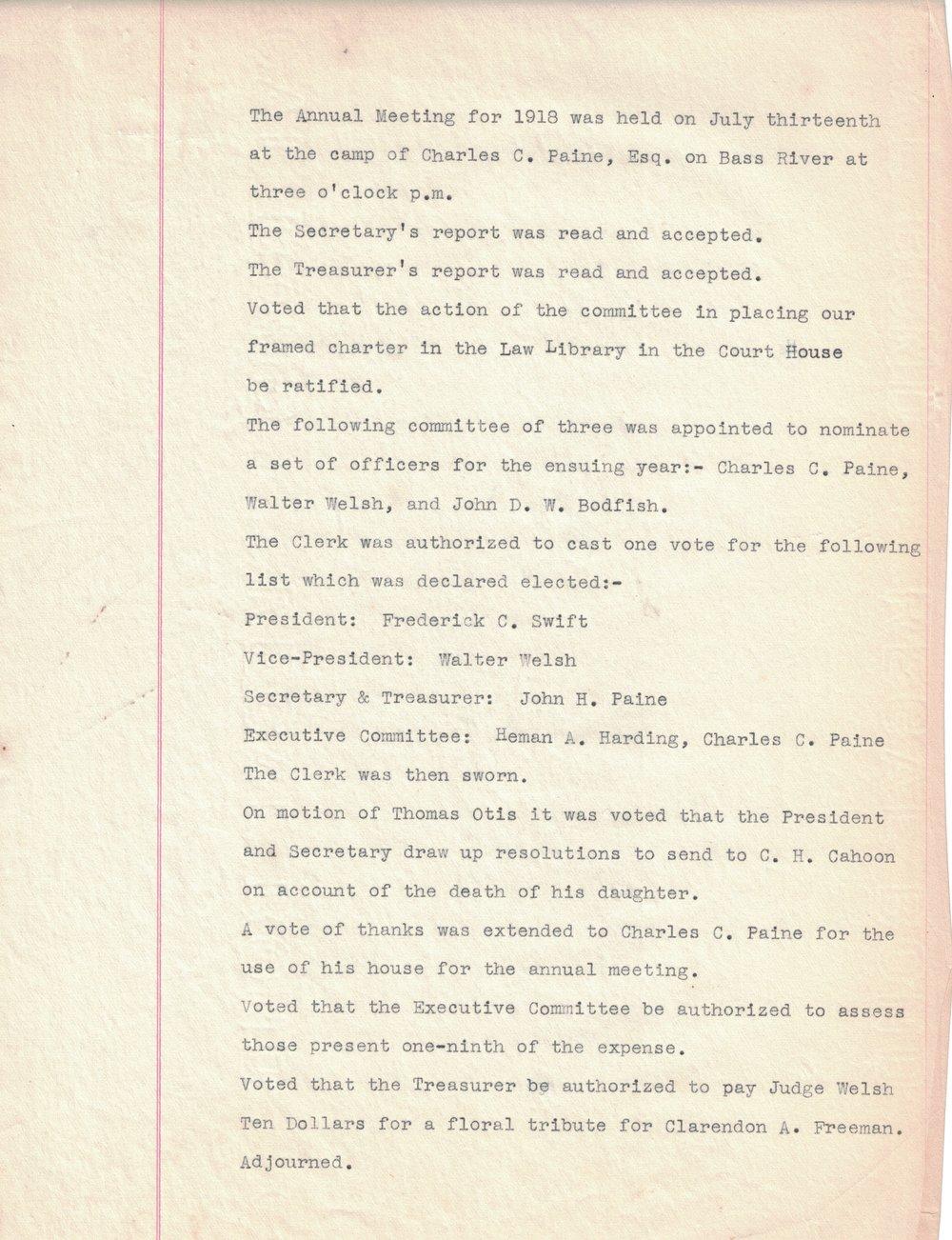 1918 Minutes