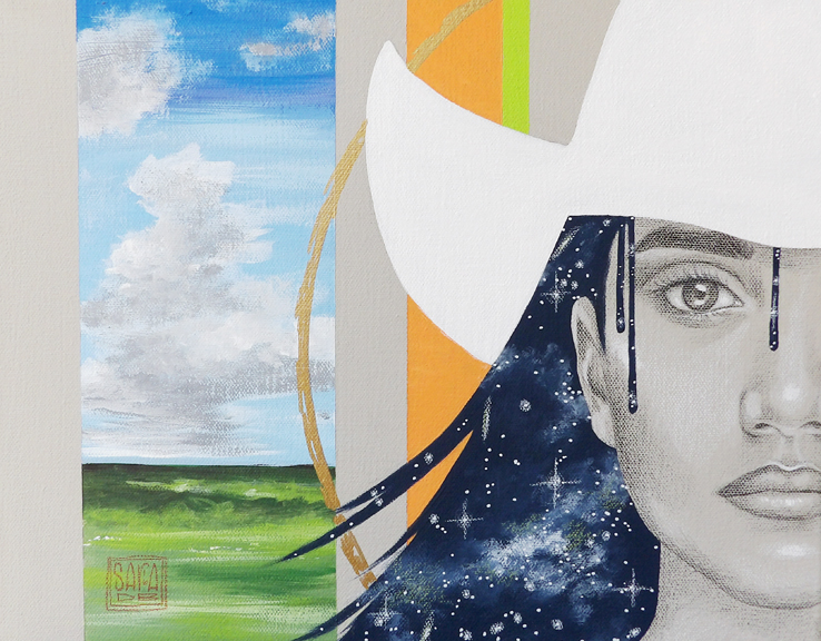 """Colina Cowgirl"" mixed media 14x11 ©Sara Drescher"