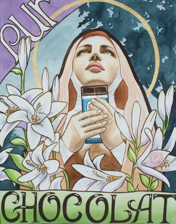 """Pure"" watercolor ©Sara Drescher The saintly woman represents a life of purity. The trees are a symbol of Christ, and the lilies are symbols of purity.  Green representslife, purple means royalty, and light blue is a color of holiness."