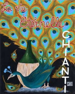 """Peacock No. 2""  acrylic ©Sara Drescher  In this piece the wine is a symbol of Christ and the peacock is a symbol of immortality. In the middle Ages, people believed that the flesh of a peacock would not decompose, so this bird became a symbol of eternal life. In French, the title says, ""Eternal Life."""