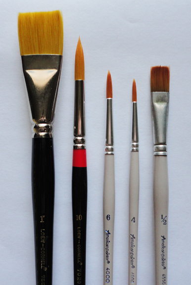 Brushes- I have had good luck with the Princeton brand.  I recommend starting with a 1″ flat, 1/2″ flat, a number 4 round, a number 6 round, and a number 10 round or some number that's close so that you have 3 distinct sizes to work with.  If you already have brushes, bring them!