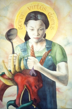 """St. Martha""  watercolor ©Sara Drescher-private collection  This is the sister of Mary and Lazarus who was the fussy housekeeper. Her attribute is the ladle for her work in the kitchen. Also, church history has her traveling to France to kill a dragon with her siblings. Her halo reads: ""Sister, Virtue and Home."""