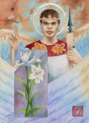 """Gabriel""  watercolor ©Sara Drescher  Gabriel's name means ""God is my strength."" This a symbol of strength, courage and Christ. He wears a crown and is alwaysportrayed with multicolored wings. He is a messenger of God and the iris is a symbol for a message of hope. The lily is a symbol of purity andof Mary, Christ's mother. He announced the conception of Christ to Mary. He also frequently carries a scroll for his messages. This particularLion on his tunic is a symbol of strength, courage and Christ. He wears a crown and is always portrayed with multicolored wings. He is amessenger of God and the iris is a symbol for a message of hope. Thelily is a symbol of purity and of Mary, Christ's mother. He announcedthe conception of Christ to Mary. He also frequently carries a scrollfor his messages. This particular scroll is also a weapon as the Wordarms us as well. The map above his head represents that he is amessenger of God and is frequently sent to deliver messages all over the world, according to scripture."