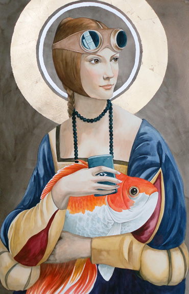 """The Saint and the Fish"" watercolor ©Sara Drescher-private collection"