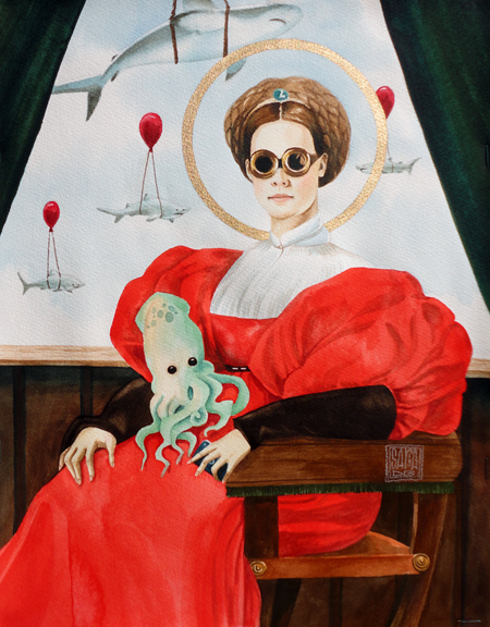 """The Saint in the Goggles"" watercolor ©Sara Drescher-private collection"