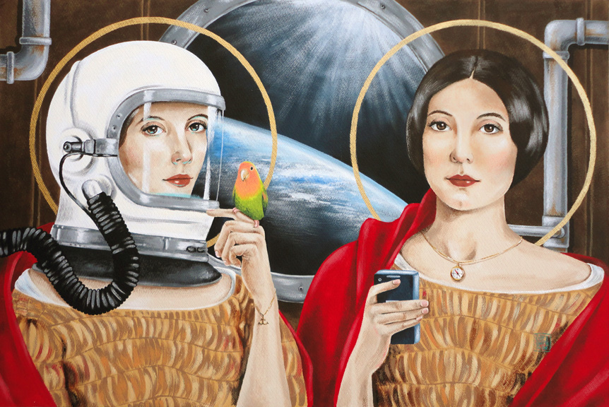 """Sisters in Space"" acrylic ©Sara Drescher-private collection"
