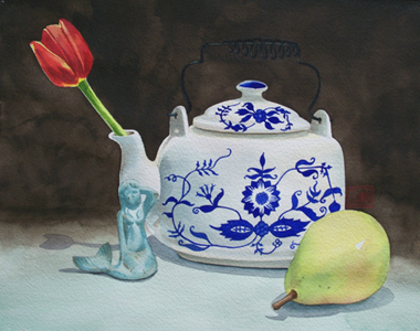 """Teapot and the Mermaid"" watercolor ©Sara Drescher-private collection"