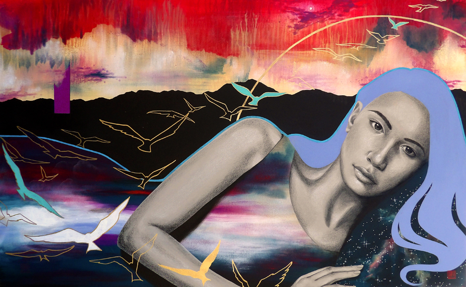"""""""Rest Before the Maelstrom"""" mixed media 30x48 ©Sara Drescher"""