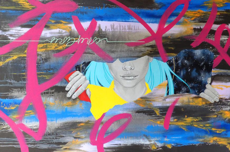 """""""Torn"""" mixed media 24x36 ©Sara Drescher"""