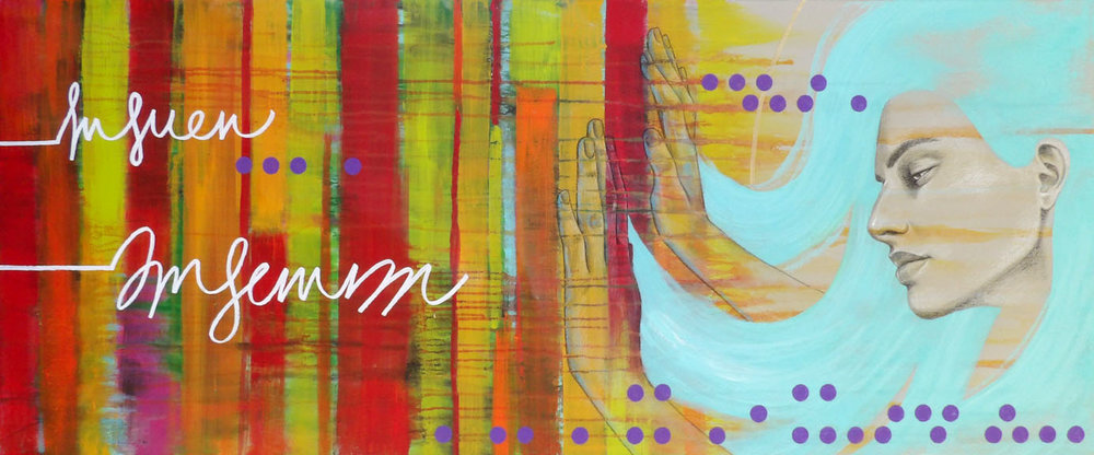 """""""My Own Strength"""" colored pencil and acrylic 20x48 ©Sara Drescher"""