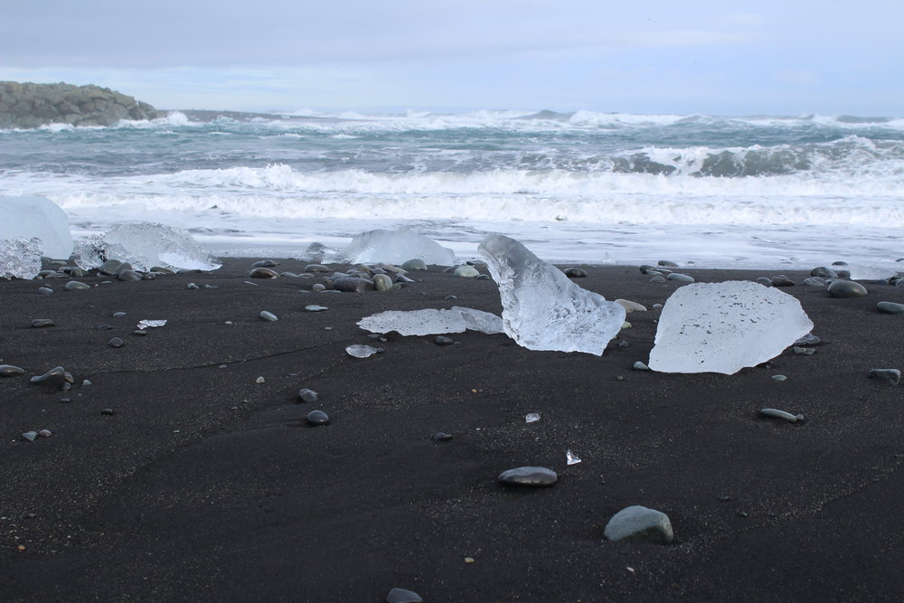 Natural ice shards on a black beach