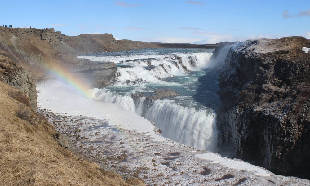 Gullfoss and its double rainbow