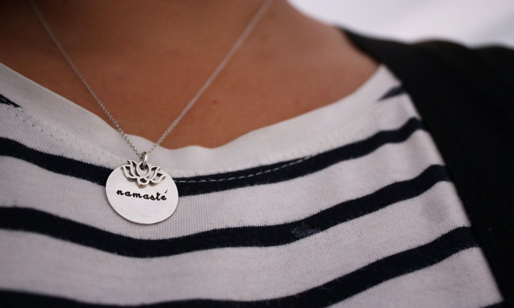 Namaste and lotus flower necklace: Tampa, Florida