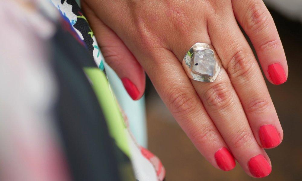 Moonstone and silver ring: Brooklyn Flea, NYC