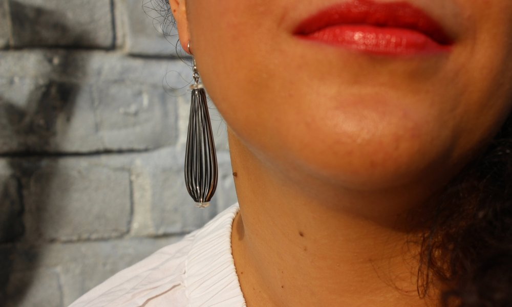 Black and white striped earrings: Venice, Italy