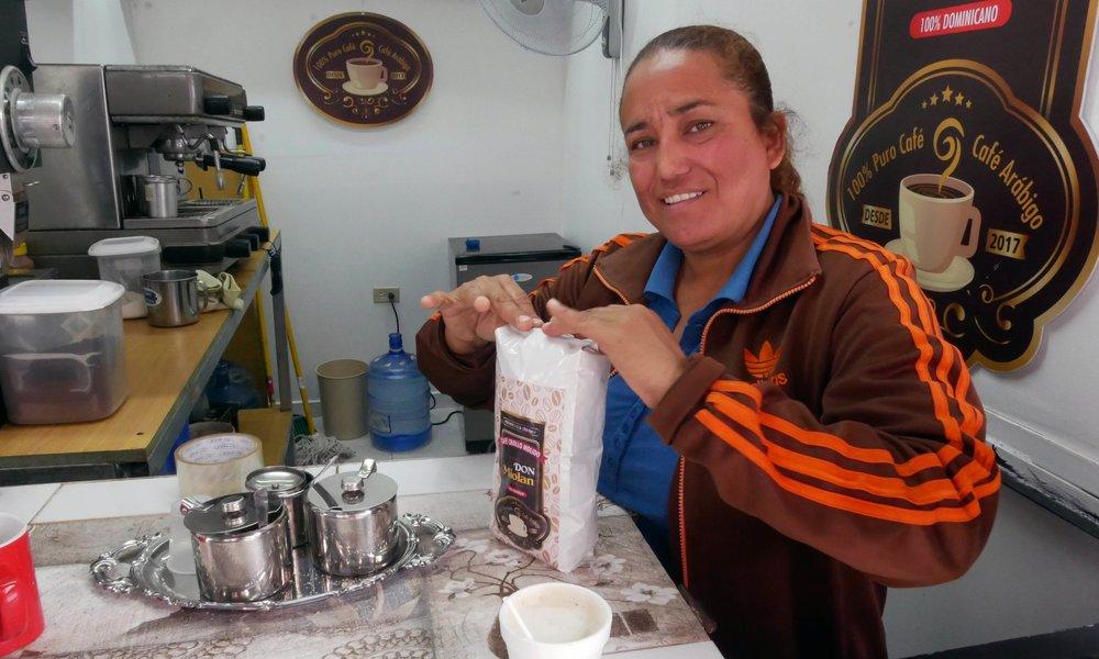 Sampling Dominican coffee