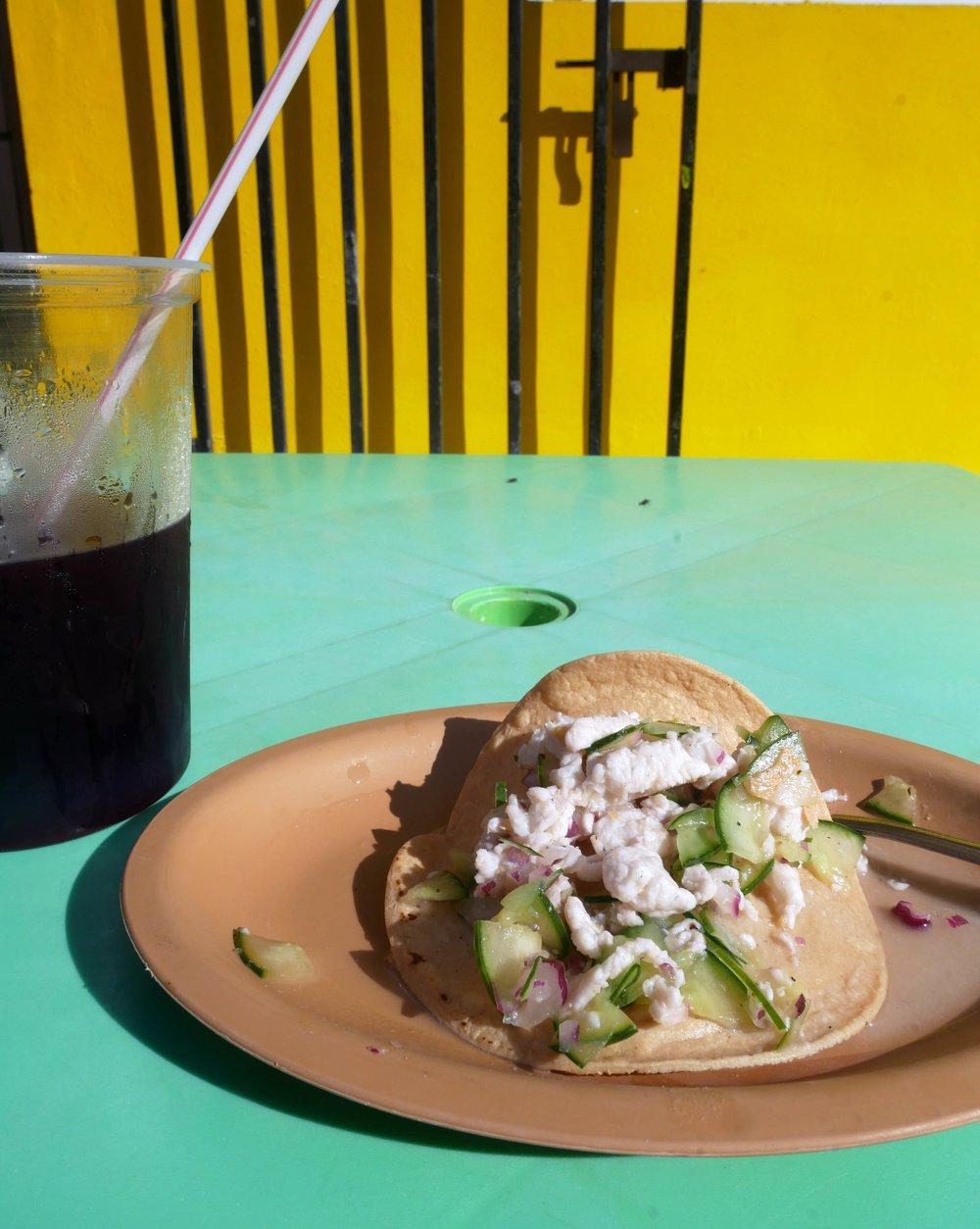 La Chingada Holbox Mexico ceviche tacos