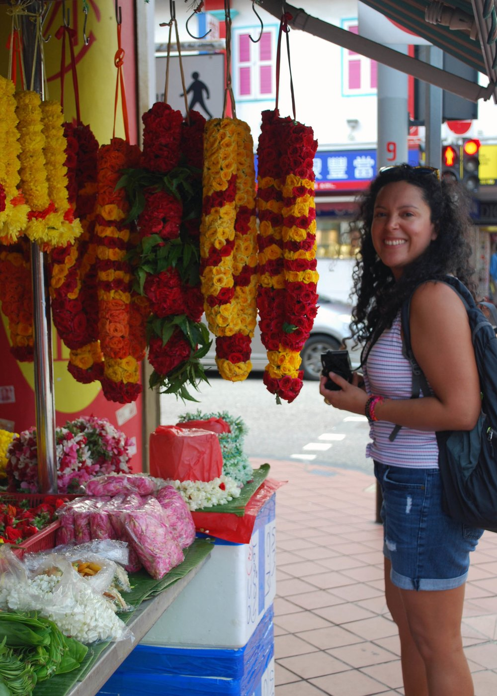 Fresh flowers (including my favourite, jasmine) in Little India, Singapore