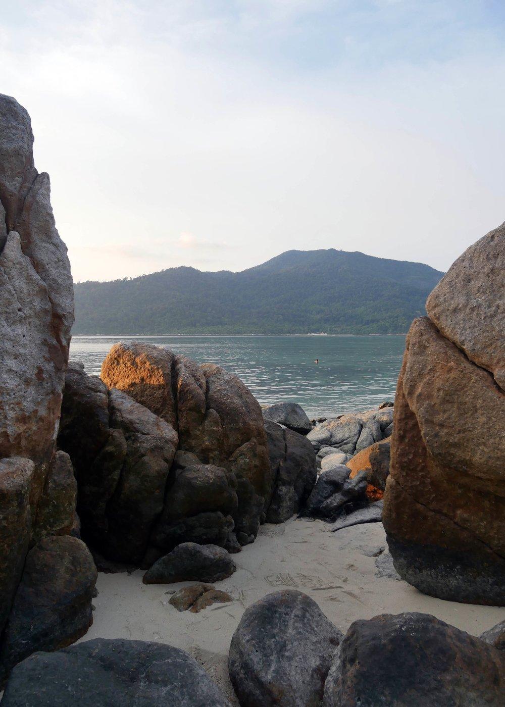 Rocks along Sunset Beach, Koh Lipe