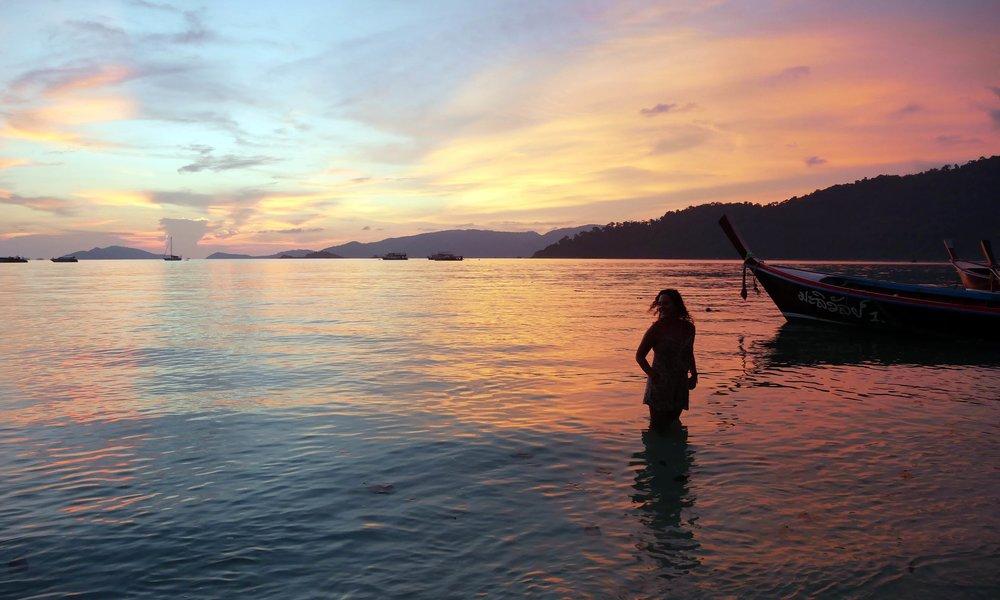 Watching the sun set on Sunset Beach