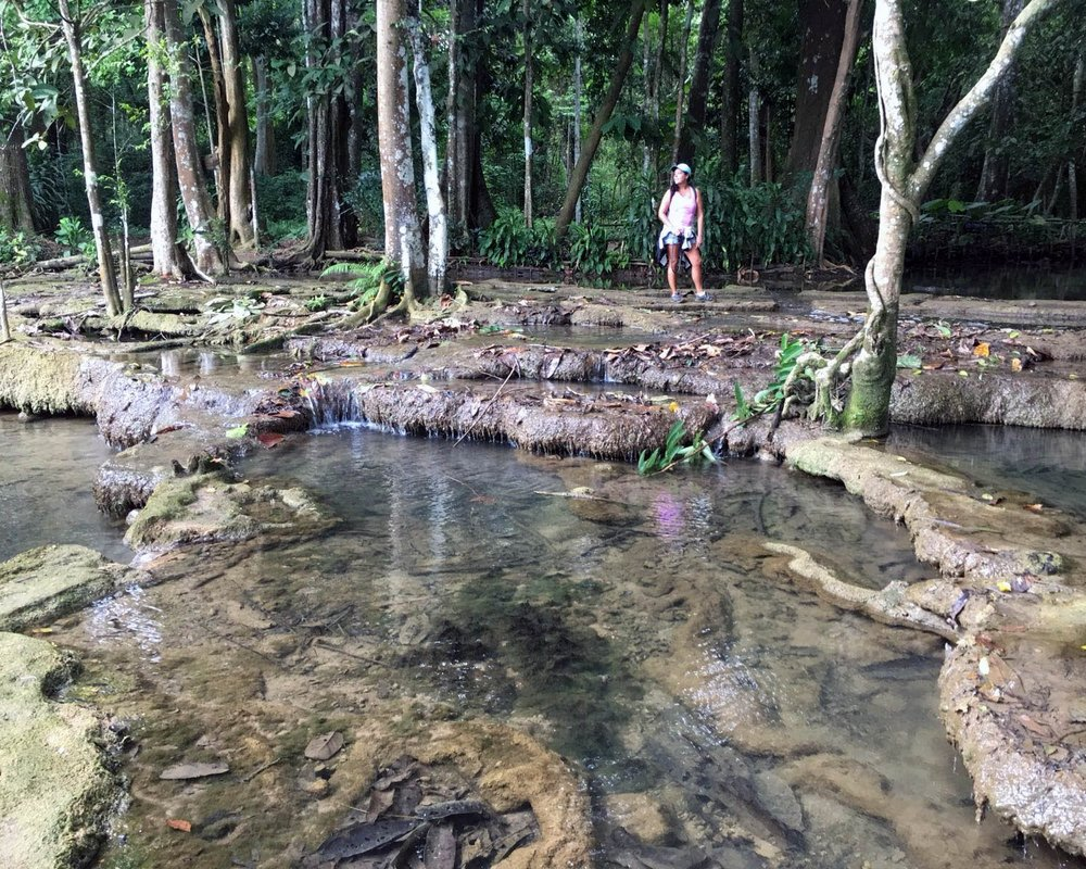 Hiking to the top of Kuang Si Falls