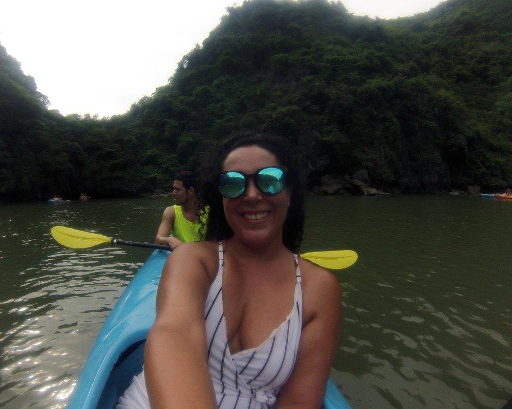 Kayaking through the Halong Bay lagoon