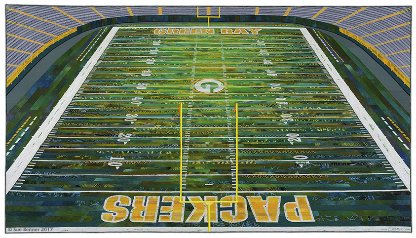 "Home of Your Packers:   44""H x 78.5""W, 2017:  dye and paint on silk and cotton, commercial and found fabrics (silk, cotton, rayon, polyester, acetate); fused collage, machine quilted.  Detail to Right"