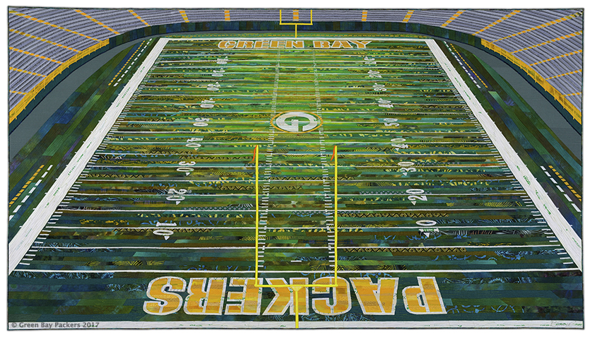 Home of Your Packers,  44 H x 78.5 W in, 2017, dye and paint on silk, cotton, commercial and found fabrics (silk, cotton, rayon, polyester, acetate), fused collage, machine quilted.