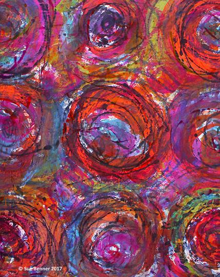 Dye painted & monoprinted silk broadcloth