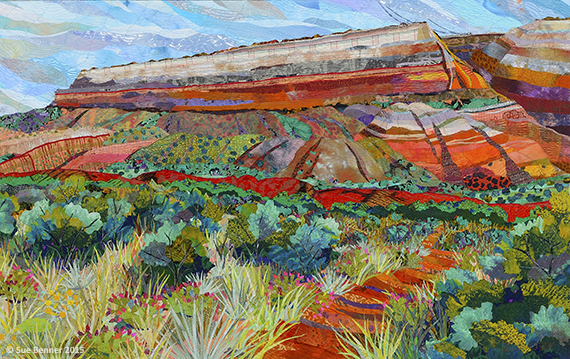 Palo Duro Canyon: Fortress Cliff,  detail. Read how this commission came to be and see how Benner went from   photo to sketch to finished art.