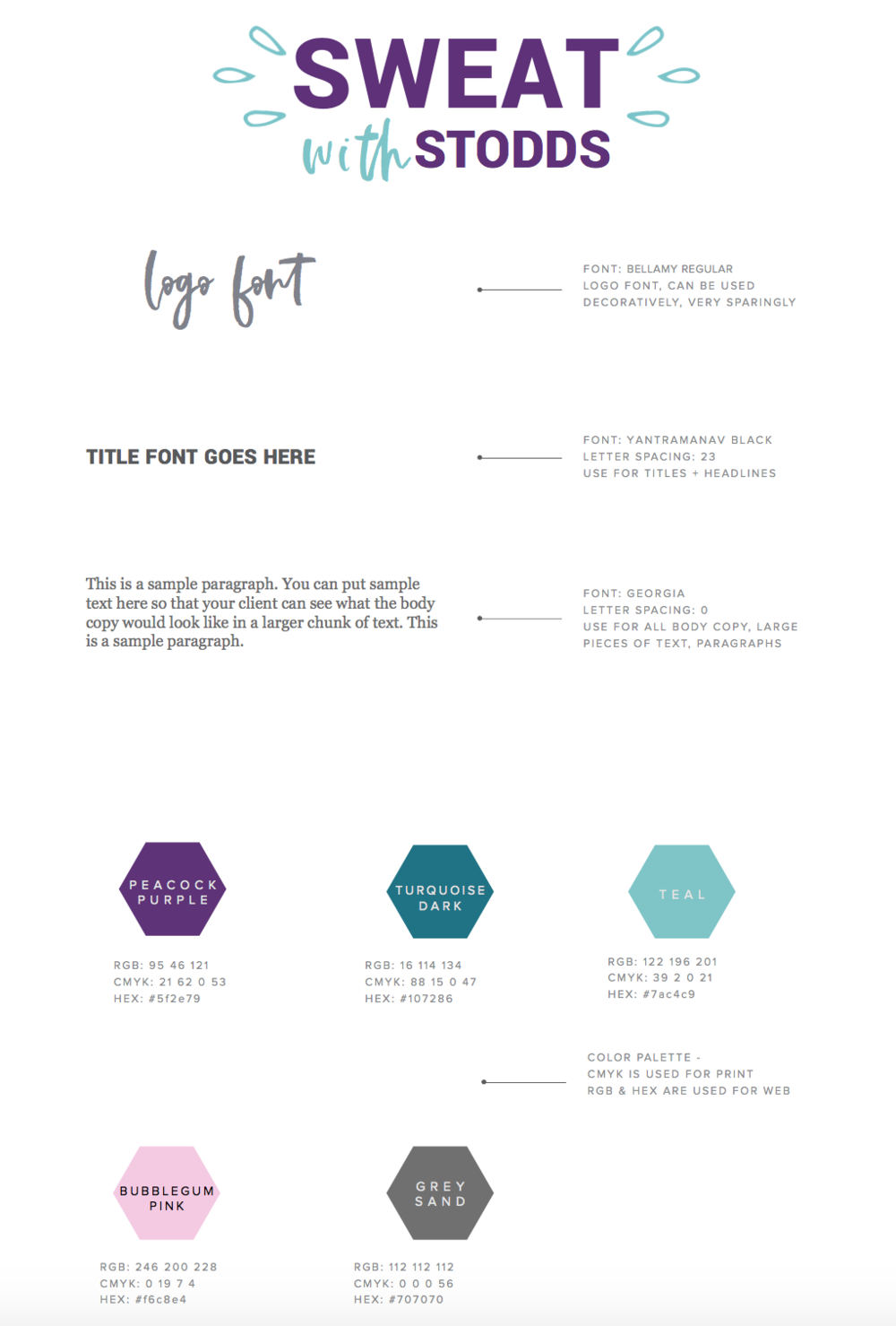 Sweat with Stodds Branding Style Guide
